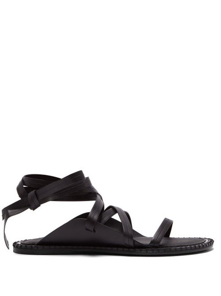 Ann Demeulemeester - Wrap Around Leather Sandals - Womens - Black