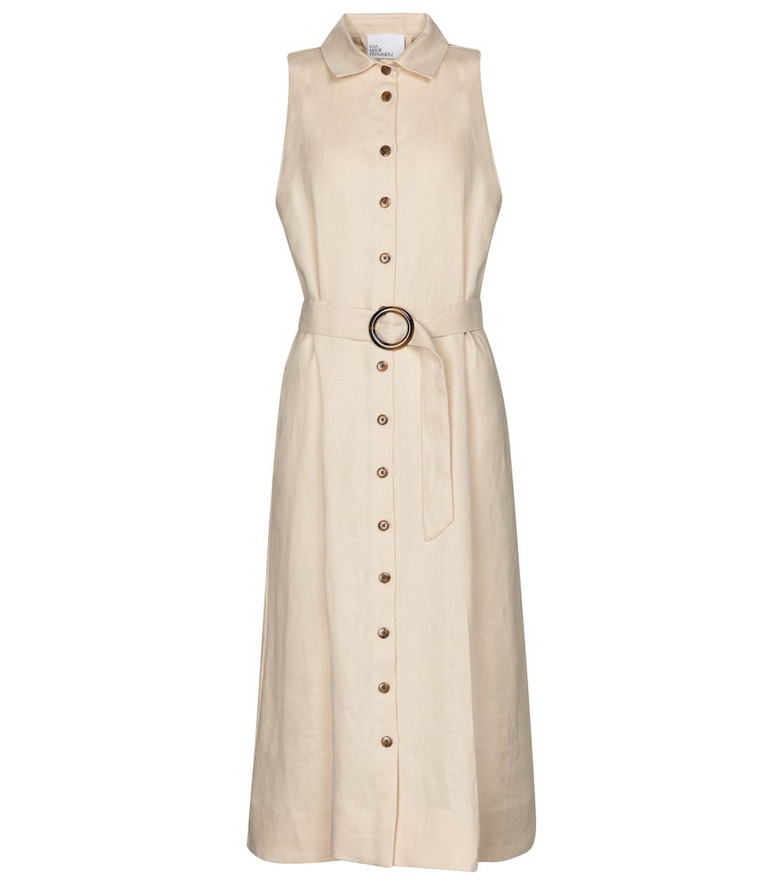 Lisa Marie Fernandez Alison linen midi dress in beige