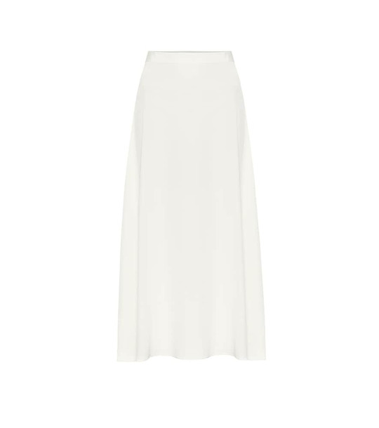 Co Stretch-crêpe midi skirt in white
