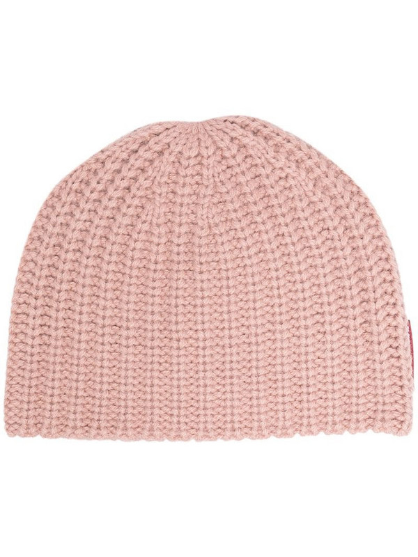 Dsquared2 ribbed logo beanie in pink