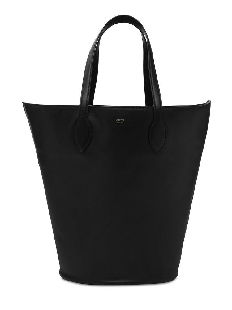 KHAITE Osa Circle Leather Tote Bag in black