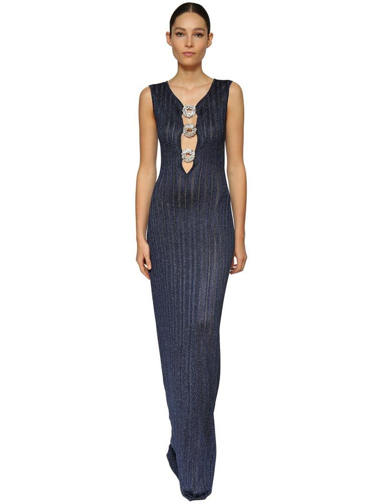 AZZARO Lurex Knit Long Dress W/ Crystal Buckles in blue