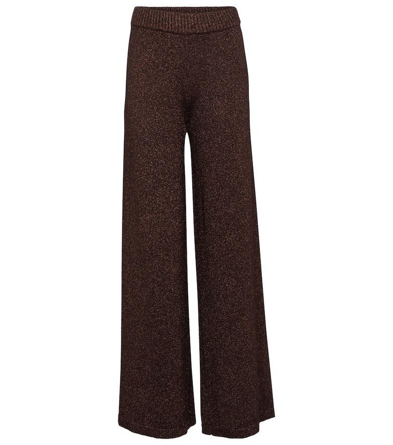 Staud Daisy metallic high-rise wide-leg pants in brown