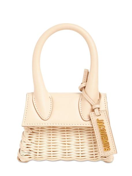 JACQUEMUS Le Chiquito Raffia & Leather Bag in beige