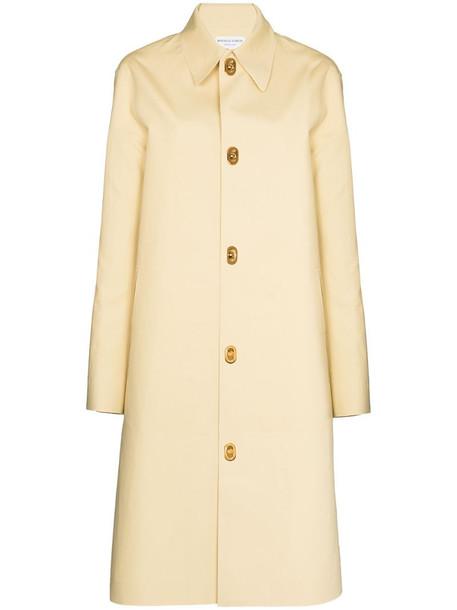 Bottega Veneta single-breasted cotton coat in yellow