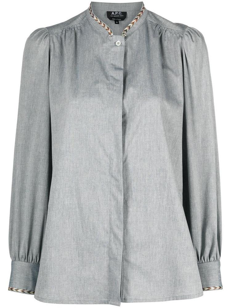 A.P.C. A.P.C. Patty braid-trimmed cotton shirt - Blue