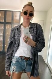 top,shirt,miley cyrus,celebrity,denim shorts,striped shirt,stripes,instagram