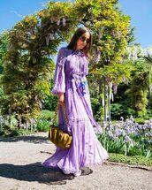 dress,maxi dress,purple dress,long sleeve dress,loafers,bag