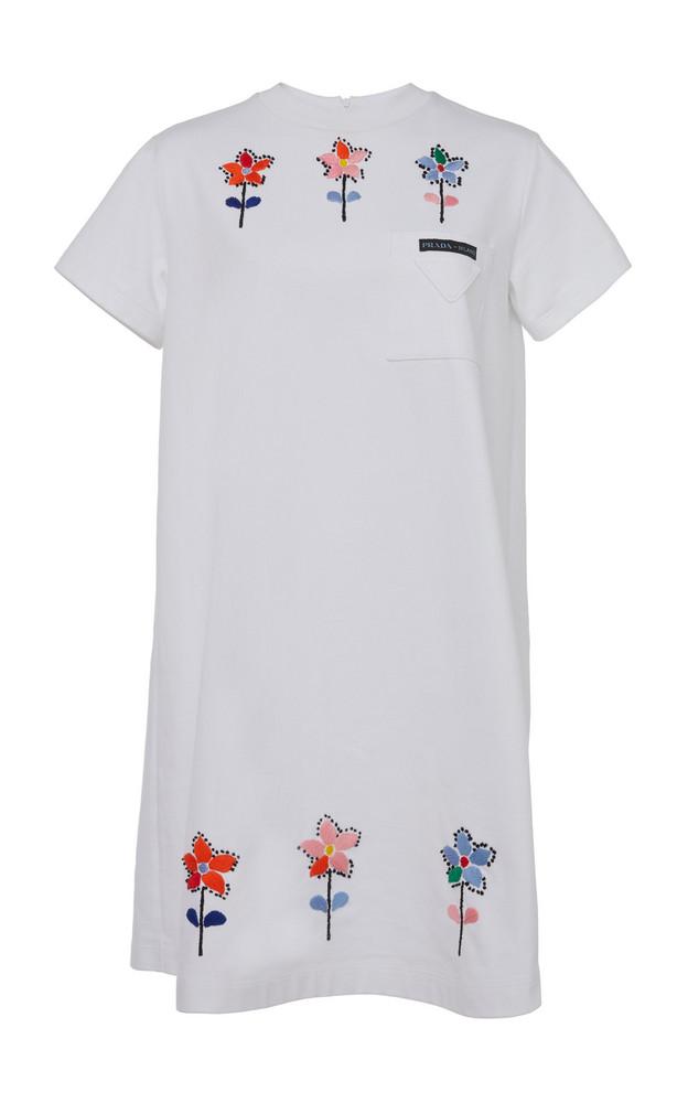 Prada Embroidered Cotton Mini T-Shirt Dress in white