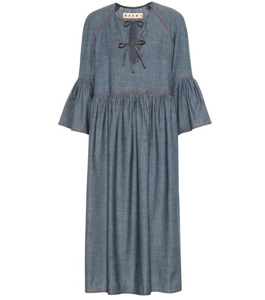 Marni Stretch-cotton chambray midi dress in blue