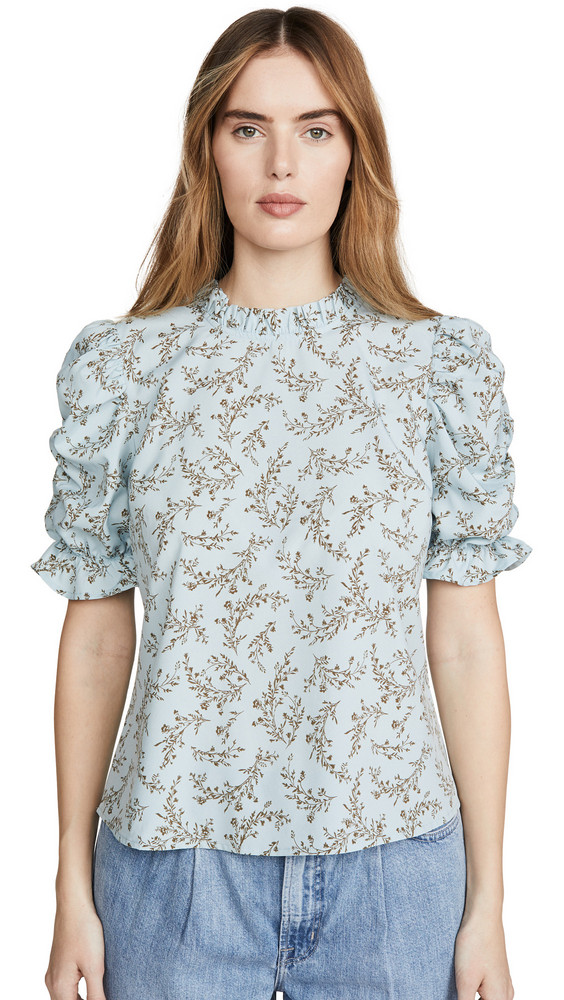 Moon River Ruched Sleeve Top in blue
