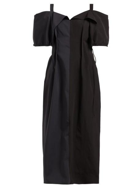 Jil Sander - Gabi Colour Block Off The Shoulder Dress - Womens - Black Navy