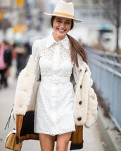 dress,white dress,shirt dress,zimmermann,lace dress,cotton,mini dress,faux fur coat,leather,handbag,hat