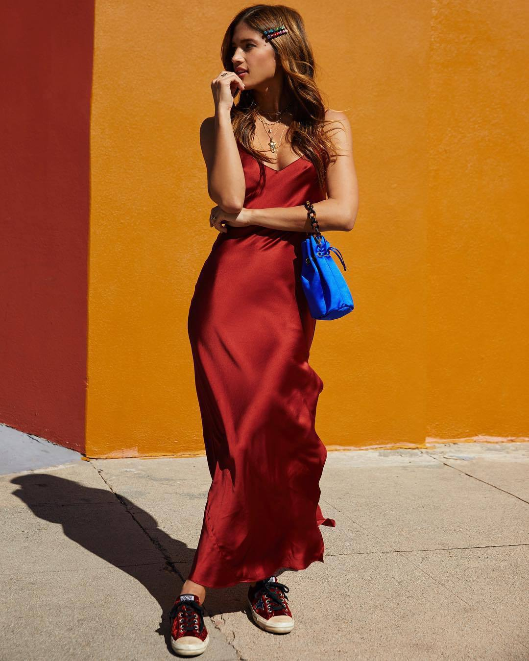 dress cami dress slip dress maxi dress rocky barnes instagram red dress silk dress red sneakers blue bag handbag satin converse