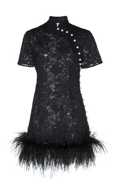 Huishan Zhang Su Floral Lace Feather-Trim Kimono Mini Dress Size: 6 in black