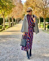 dress,midi dress,turtleneck dress,long sleeve dress,black boots,ankle boots,coat,chanel bag