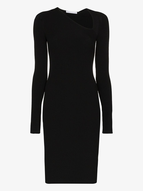 Helmut Lang asymmetric neck fitted dress in black