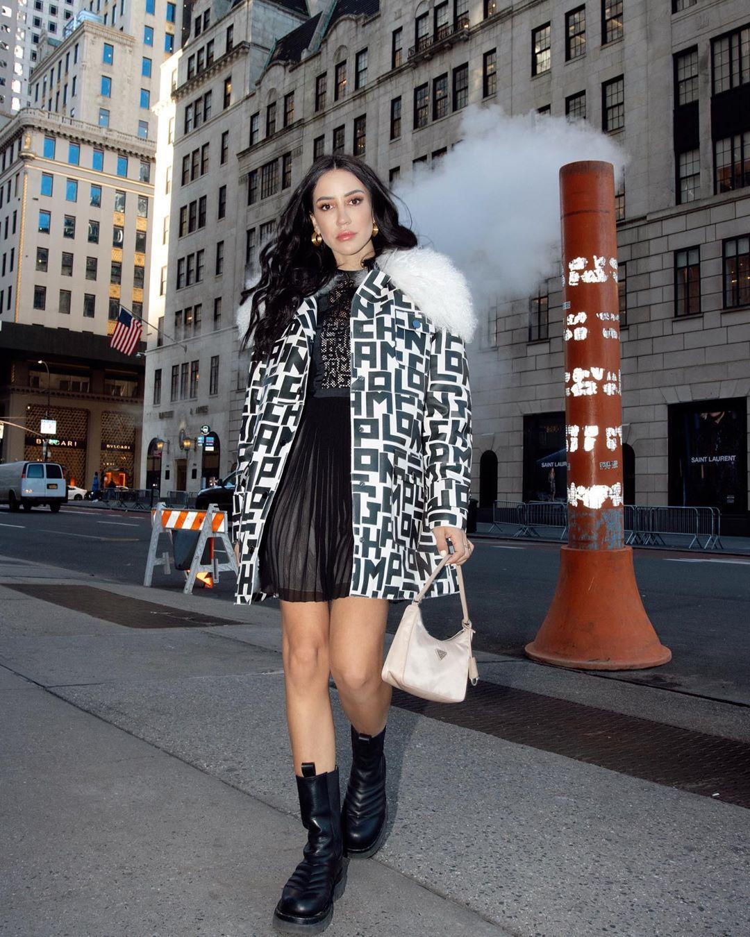 shoes black boots midi dress pleated dress oversized jacket prada bag