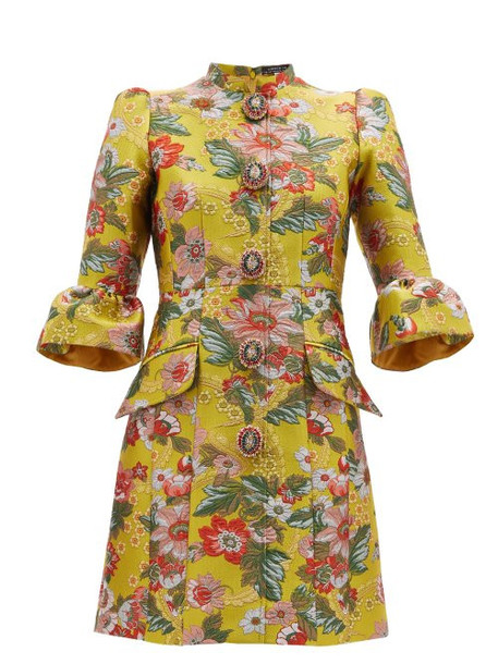 Andrew Gn - Fluted Sleeve Floral Brocade Mini Dress - Womens - Yellow Multi