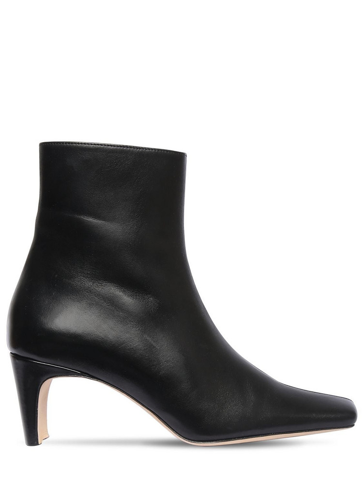 STAUD 60mm Leather Ankle Boots in black