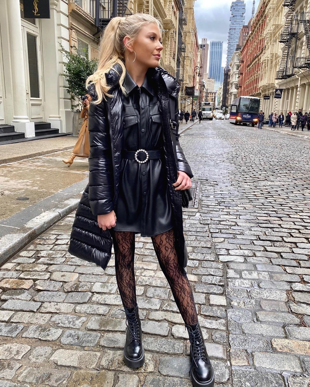 top black shirt leather ankle boots tights black jacket