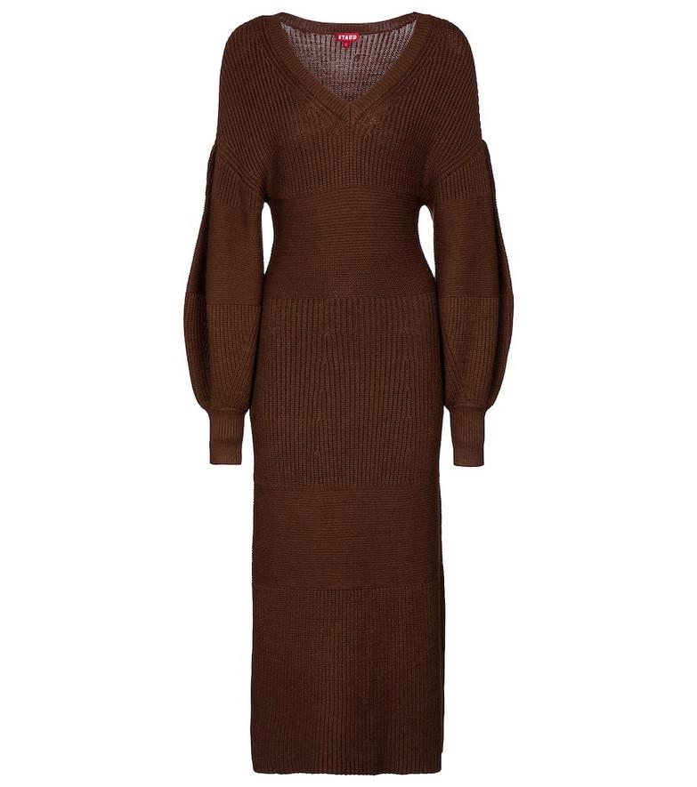 Staud Carnation knit midi dress in brown