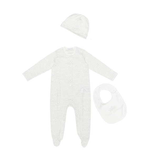 Dolce & Gabbana Kids Baby printed cotton playsuit, bib and hat set in white