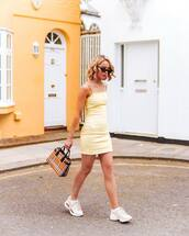 dress,yellow dress,bag,plaid,burberry,white sneakers,gucci,mini dress,sleeveless dress