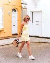 dress,yellow dress,bag,plaid,burberry,white sneakers,gucci,mini dress,sleeveless dress