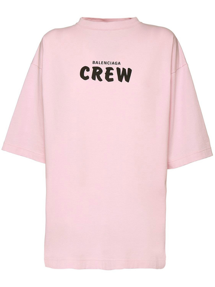 BALENCIAGA Over Crew Print Cotton Jersey T-shirt in black / pink