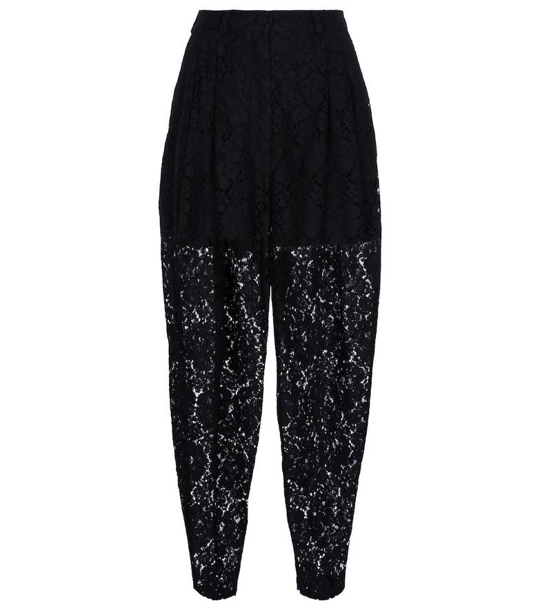 Dolce & Gabbana Cotton-blend lace sweatpants in black