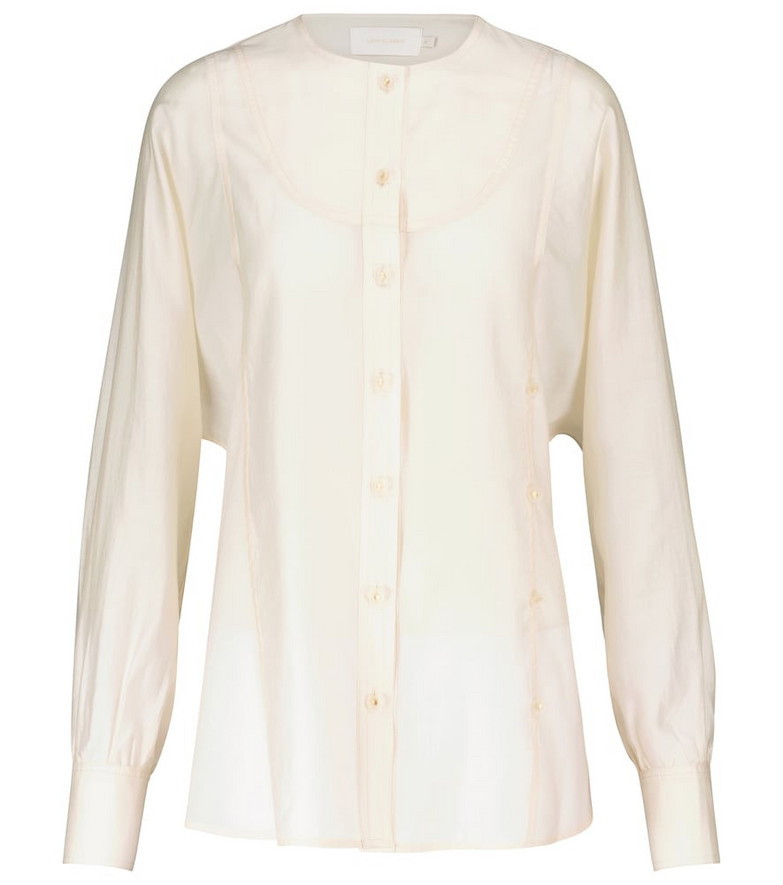 Low classic Collarless shirt in white