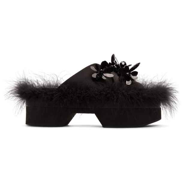 Simone Rocha Black Satin Feather Slides
