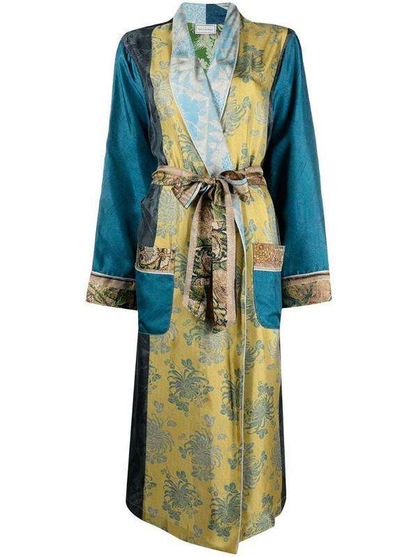 Pierre-Louis Mascia panelled belted coat in blue