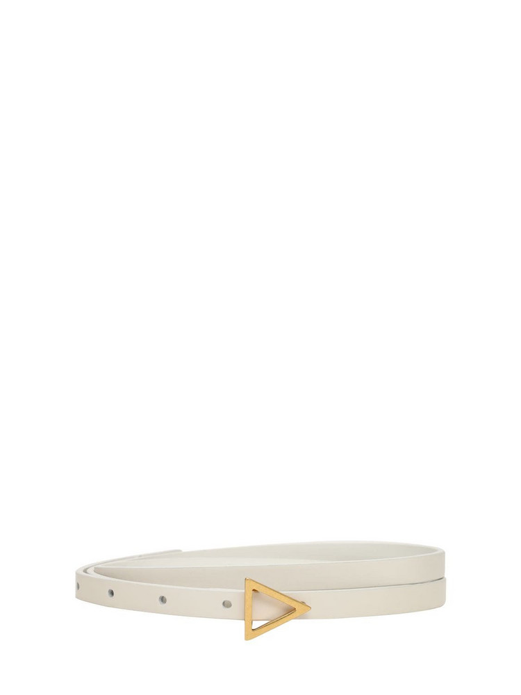 BOTTEGA VENETA Leather Belt W/ Triangle Buckle in white