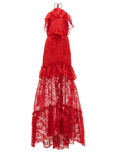 Dundas - Ruffled Halterneck Guipure-lace Gown - Womens - Red