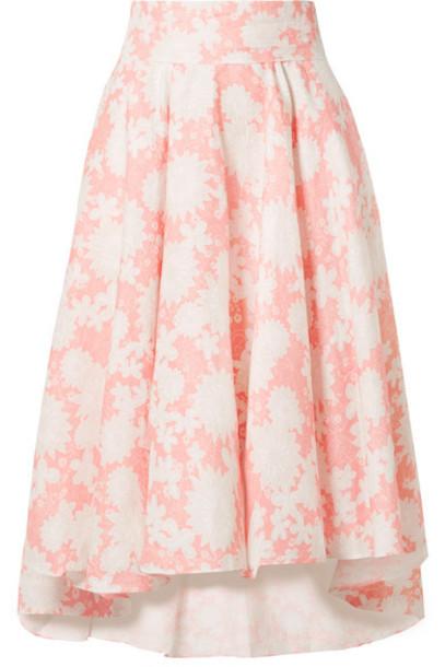 Miguelina - Jackie Floral-print Linen Midi Skirt - Blush