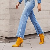 shoes,ankle boots,yellow,block heels,official
