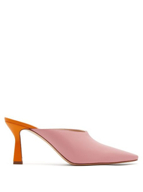 Wandler - Lotte Contrast Heel Leather Mules - Womens - Light Pink
