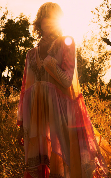 Juliet Dunn Tie Dye Maxi Cotton Kaftan Dress in pink