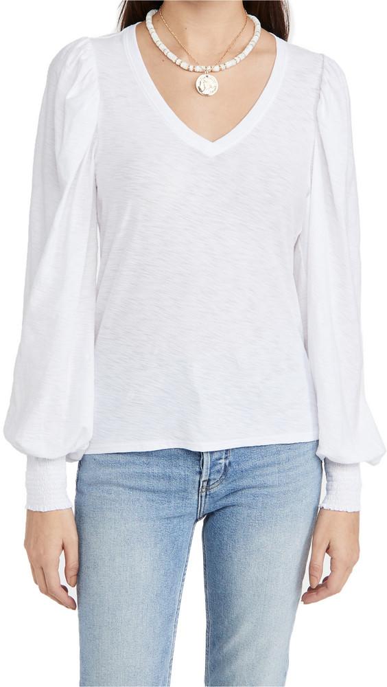 Nation LTD Tabitha Full Sleeve V Neck Top in white