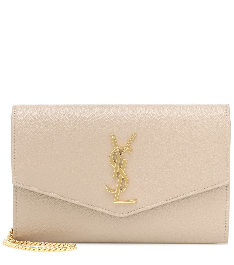 Saint Laurent Uptown Small leather clutch in beige
