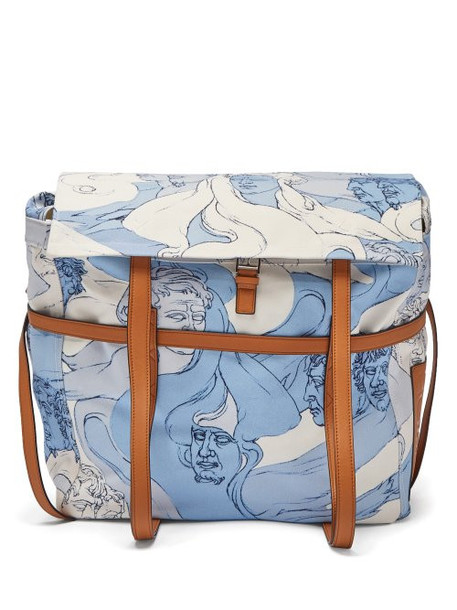 Loewe - Faces Print Canvas Messenger Bag - Womens - Blue White