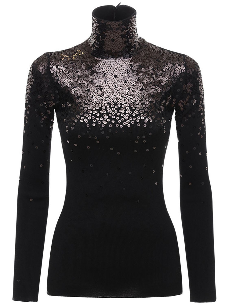 VALENTINO Knit Wool Turtleneck Sweater W/sequins in black