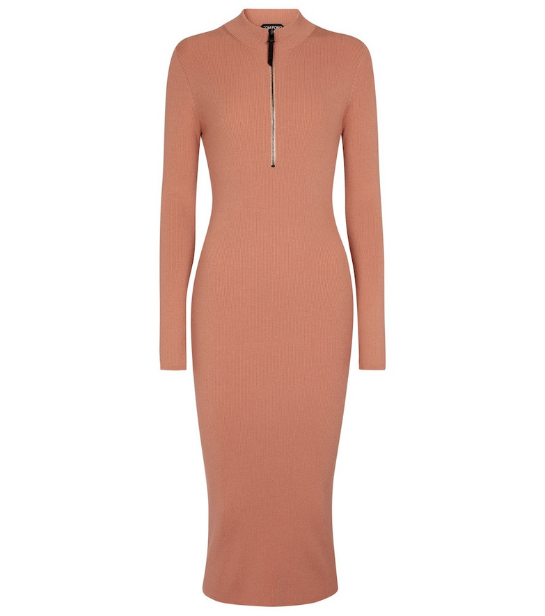Tom Ford Ribbed-knit wool-blend midi dress in pink