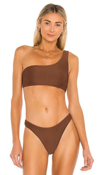 Nookie Savannah One Shoulder Top in Brown in chocolate
