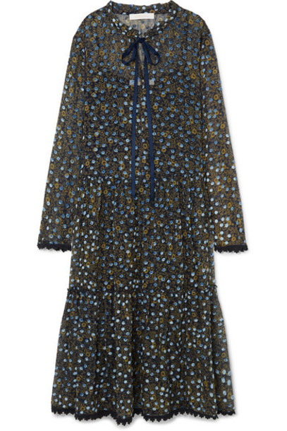 See By Chloé See By Chloé - Lace-trimmed Flocked Floral-print Silk-chiffon Midi Dress - Blue