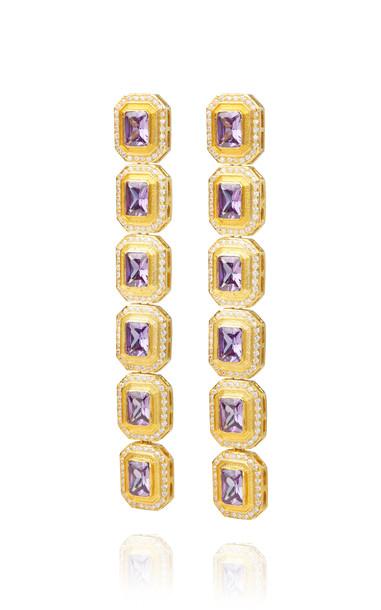 OPULINE Gold-Plated Soki Earrings in purple