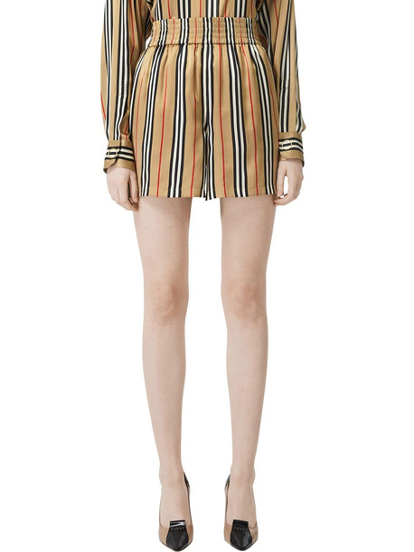 BURBERRY Check Printed Silk Twill Shorts in beige