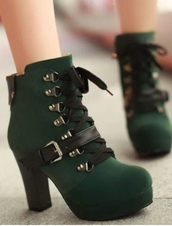 shoes,emerald green,ankle boots,tie up heels